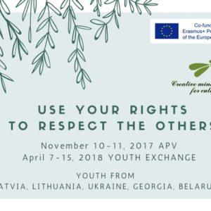 """Apstiprināts Erasmus+ jauniešu apmaiņas projekts """"Use Your Rights To Respect The Others"""""""
