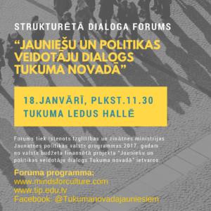Forumā jaunieši un politiķi diskutēs par jaunatnes jomas aktuāliem jautājumiem Tukuma novadā