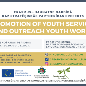 Creative Minds For Culture starptautiskā projektā īstenos mācību aktivitātes darbam ar jaunatni