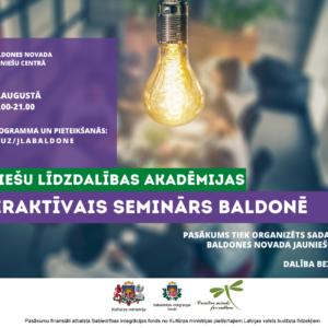 Baldonē norisināsies interaktīvais seminārs par jauniešu līdzdalību