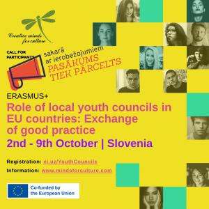 """Iespēja pieteikties Erasmus+ mācībām """"Role of local youth councils in EU countries: Exchange of good practice"""" (pasākums tiek pārcelts)"""